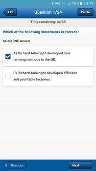 Android App question sample screenshot
