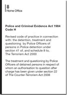 Police and Criminal Evidence Act 1984 (PACE) - CODE H - Revised 2013 - Front