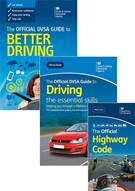The Official DVSA Guide to Better Driving, The Official DVSA Guide to Driving - the essential skills and The Official Highway Code 2015 edition book jacket images