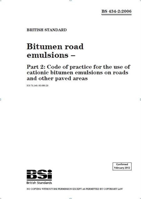 TSO Shop - Bitumen road emulsions - Part 2: Code of practice